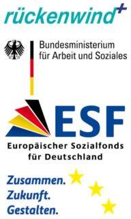 """Das Programms """"rückenwind – Für die Beschäftigten und Unternehmen in der Sozialwirtschaft"""" wird durch das Bundesministerium für Arbeit und Soziales und den Europäischen Sozialfonds gefördert."""