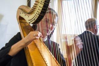Sr. Theresita Maria Müller spielt bei dem Festakt im Felsensaal die Harfe, begleitet von Klaus Stehling am Flügel. Foto: SMMP/Ulrich Bock